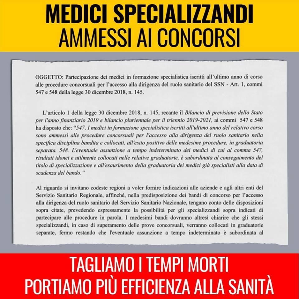 Accesso specializzandi al Ssn, circolare del Ministro Grillo alle Regioni